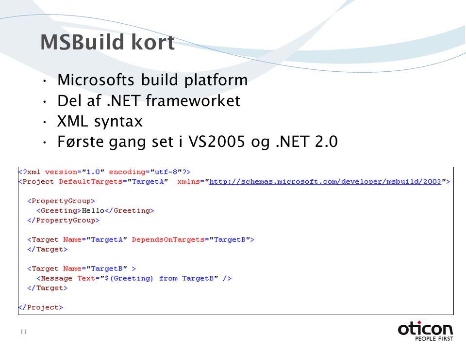 MSBuild kort Microsofts build platform Del af.NET frameworket XML syntax Første gang set i VS2005 og.NET 2.0 11