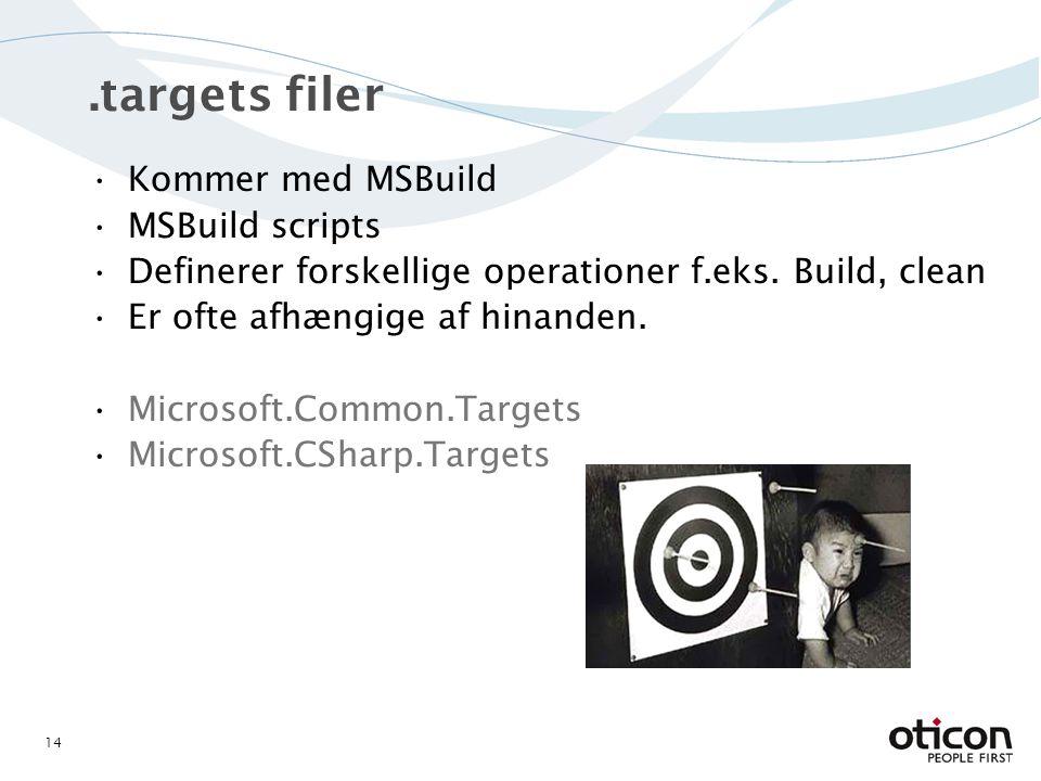 .targets filer Kommer med MSBuild MSBuild scripts Definerer forskellige operationer f.eks.