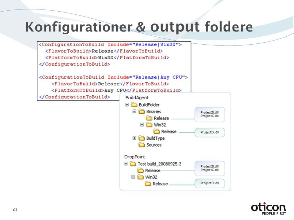 Konfigurationer & output foldere 23