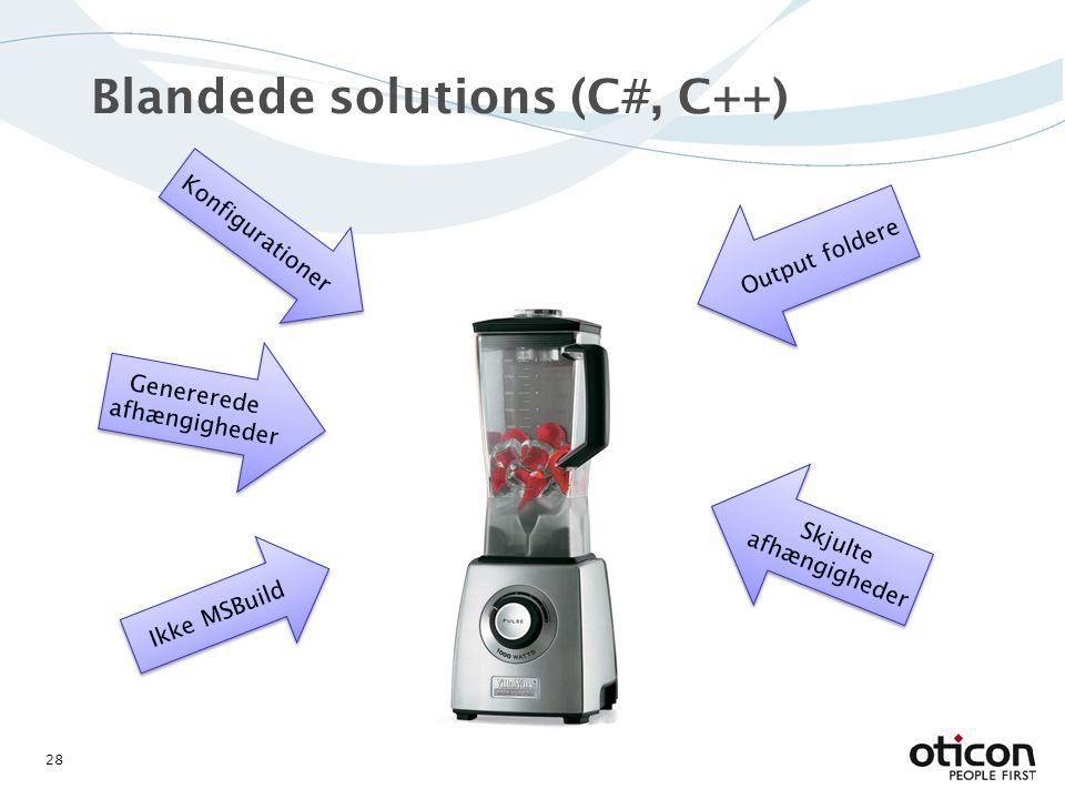 Blandede solutions (C#, C++) 28 Genererede afhængigheder Genererede afhængigheder Ikke MSBuild Konfigurationer Output foldere Skjulte afhængigheder Skjulte afhængigheder