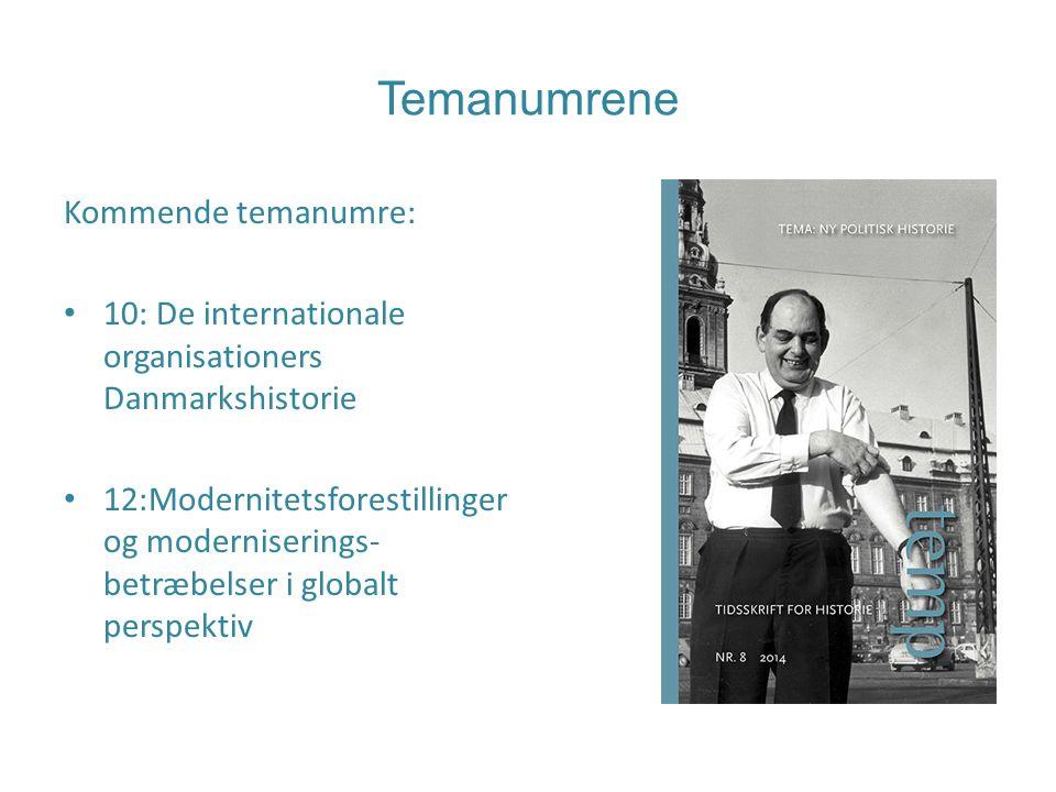 Temanumrene Kommende temanumre: 10: De internationale organisationers Danmarkshistorie 12:Modernitetsforestillinger og moderniserings- betræbelser i globalt perspektiv