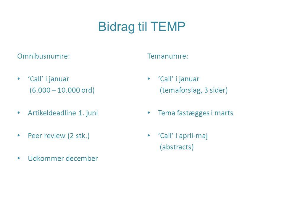 Bidrag til TEMP Omnibusnumre: 'Call' i januar (6.000 – 10.000 ord) Artikeldeadline 1.