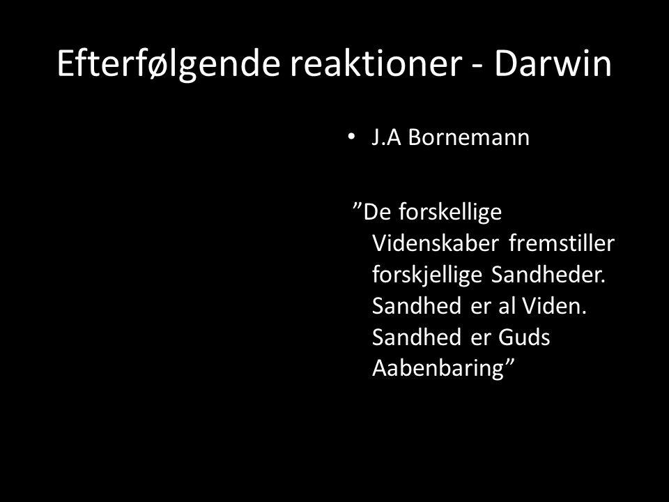 Efterfølgende reaktioner - Darwin J.A Bornemann De forskellige Videnskaber fremstiller forskjellige Sandheder.
