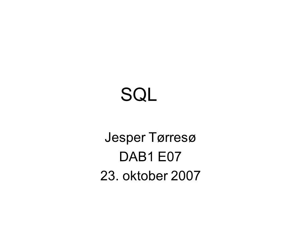 SQL Jesper Tørresø DAB1 E07 23. oktober 2007