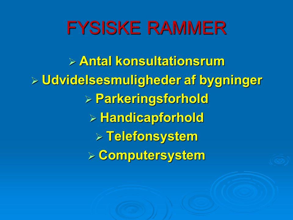 FYSISKE RAMMER  Antal konsultationsrum  Udvidelsesmuligheder af bygninger  Parkeringsforhold  Handicapforhold  Telefonsystem  Computersystem