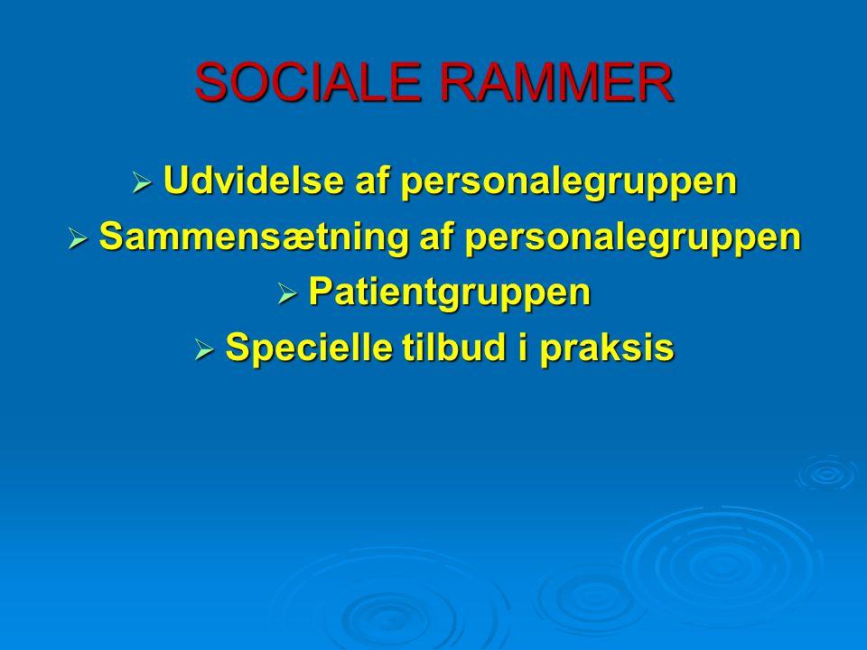 SOCIALE RAMMER  Udvidelse af personalegruppen  Sammensætning af personalegruppen  Patientgruppen  Specielle tilbud i praksis