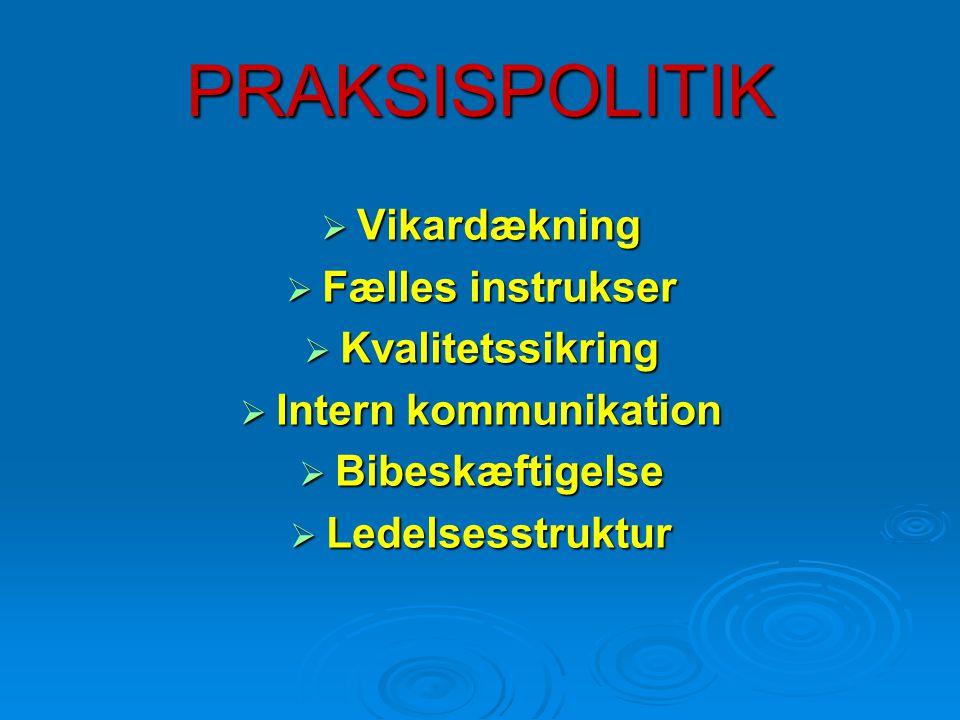 PRAKSISPOLITIK  Vikardækning  Fælles instrukser  Kvalitetssikring  Intern kommunikation  Bibeskæftigelse  Ledelsesstruktur