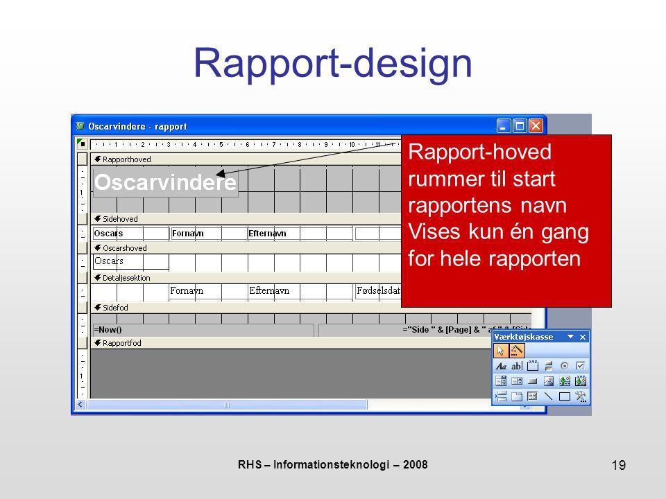 RHS – Informationsteknologi – 2008 19 Rapport-design Rapport-hoved rummer til start rapportens navn Vises kun én gang for hele rapporten