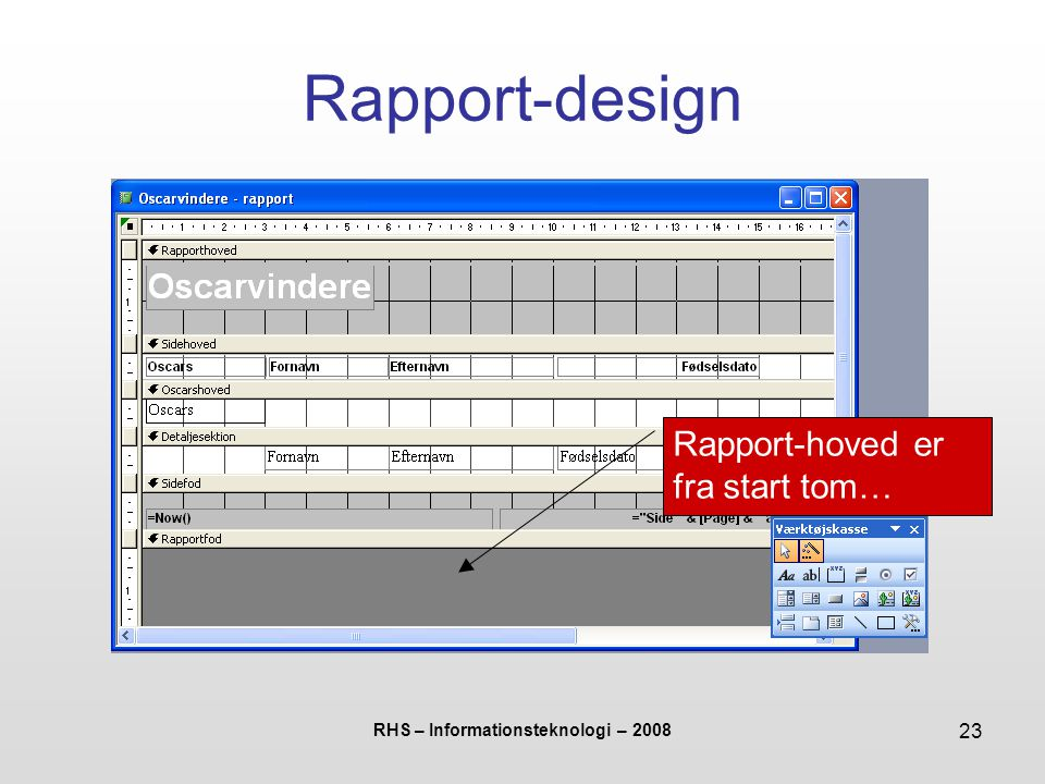 RHS – Informationsteknologi – 2008 23 Rapport-design Rapport-hoved er fra start tom…