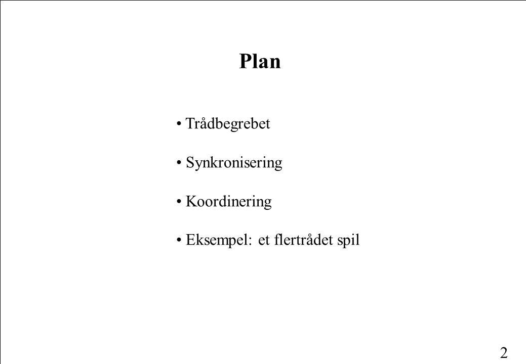 2 Plan Trådbegrebet Synkronisering Koordinering Eksempel: et flertrådet spil