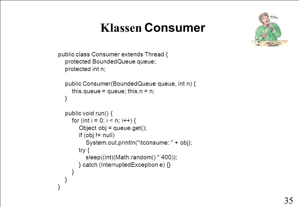 34 Klassen Producer public class Producer extends Thread { protected BoundedQueue queue; protected int n; public Producer(BoundedQueue queue, int n) {