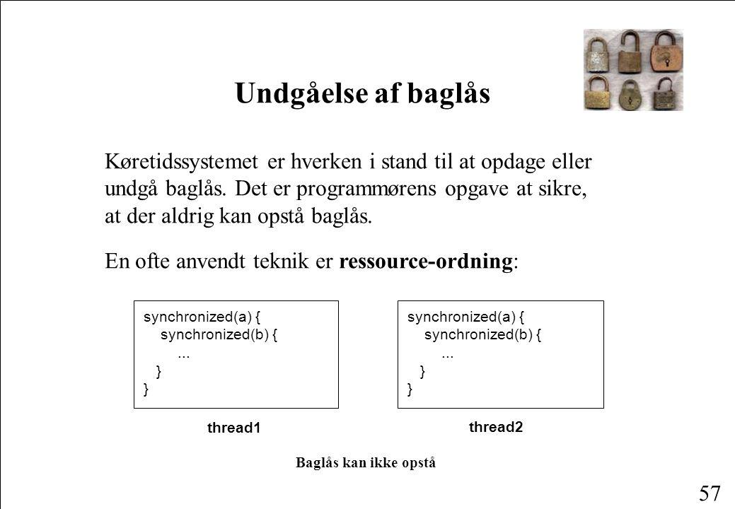 56 Opståen af baglås thread1: c.copy(d, file1)thread2: d.copy(c, file2) Kald c.copy(...) Får låsen for c Kald d.copy(...) Får låsen for d Kald c.openFile(...) Kald d.openFile(...) Kald d.writeFile(...) Kan ikke få låsen for d Kald c.writeFile(...) Kan ikke få låsen for c Baglås!