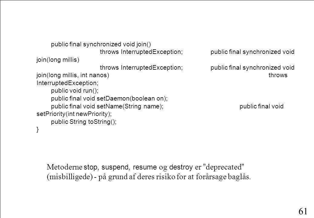 60 public static int activeCount(); public static void dumpStack(); public static boolean interrupted(); public static native void sleep(long millis)t