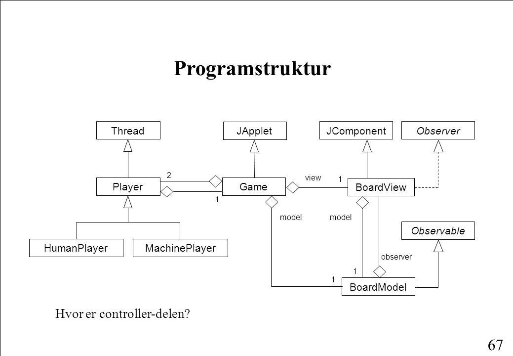 66 Observer og Observable Java understøtter brugen af MVC-konceptet igennem grænsefladen Observer og klassen Observable.