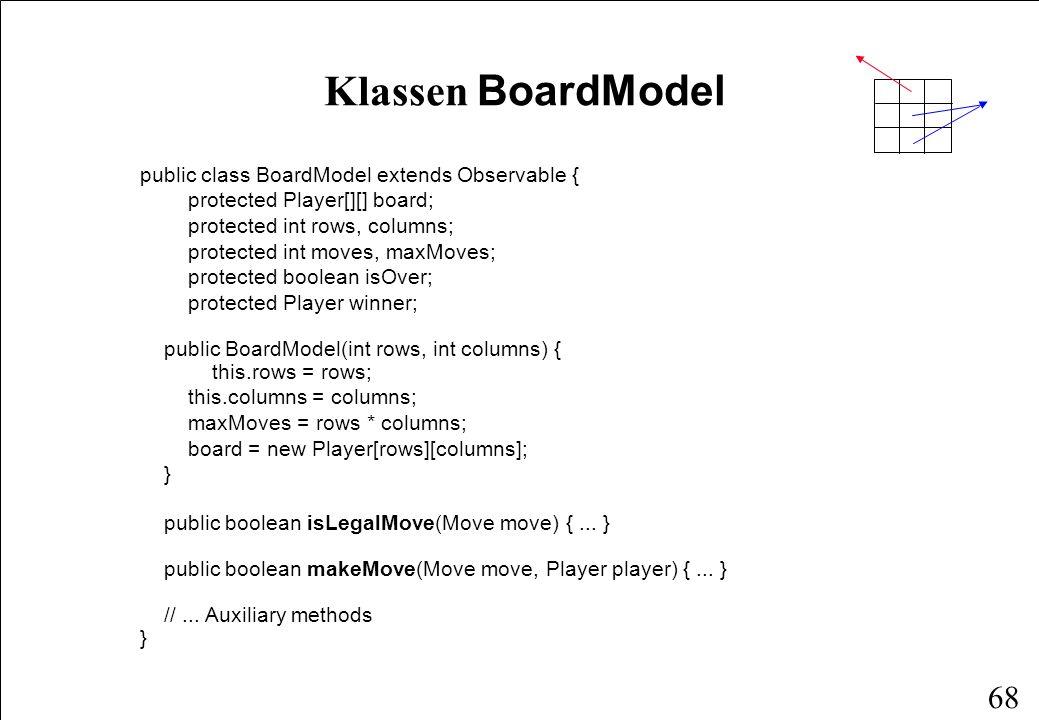 67 Programstruktur JApplet Game Thread Player HumanPlayerMachinePlayer 2 1 JComponentObserverObservable 1 BoardView view BoardModel 1 model 1 observer model Hvor er controller-delen