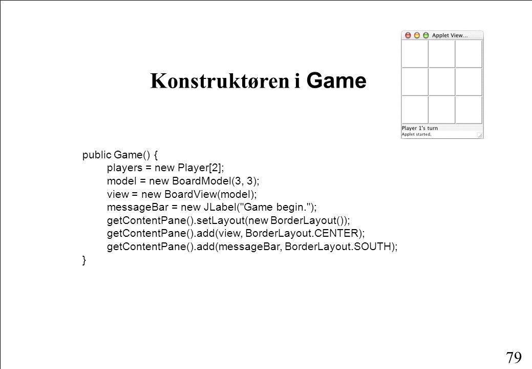 78 Klassen Game public class Game extends JApplet { protected Player[] player; protected Player turn; protected BoardModel model; protected BoardView view; protected JLabel messageBar; public Game() {...