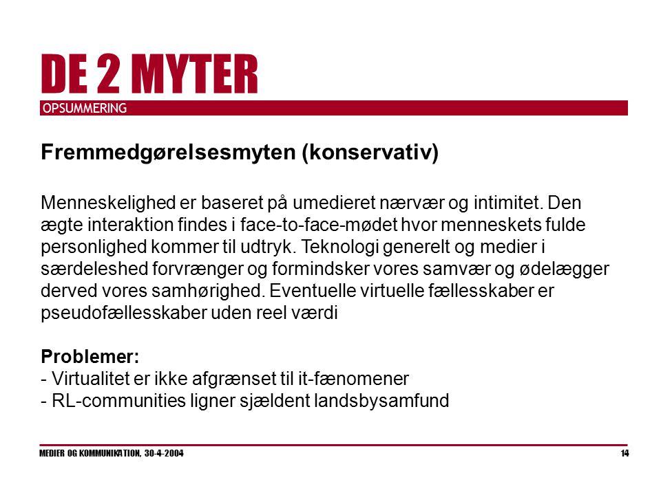 OPSUMMERING MEDIER OG KOMMUNIKATION, 30-4-2004 14 DE 2 MYTER Fremmedgørelsesmyten (konservativ) Menneskelighed er baseret på umedieret nærvær og intimitet.