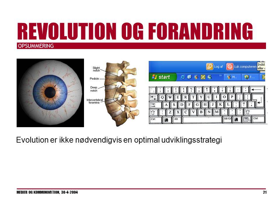 OPSUMMERING MEDIER OG KOMMUNIKATION, 30-4-2004 21 REVOLUTION OG FORANDRING Evolution er ikke nødvendigvis en optimal udviklingsstrategi