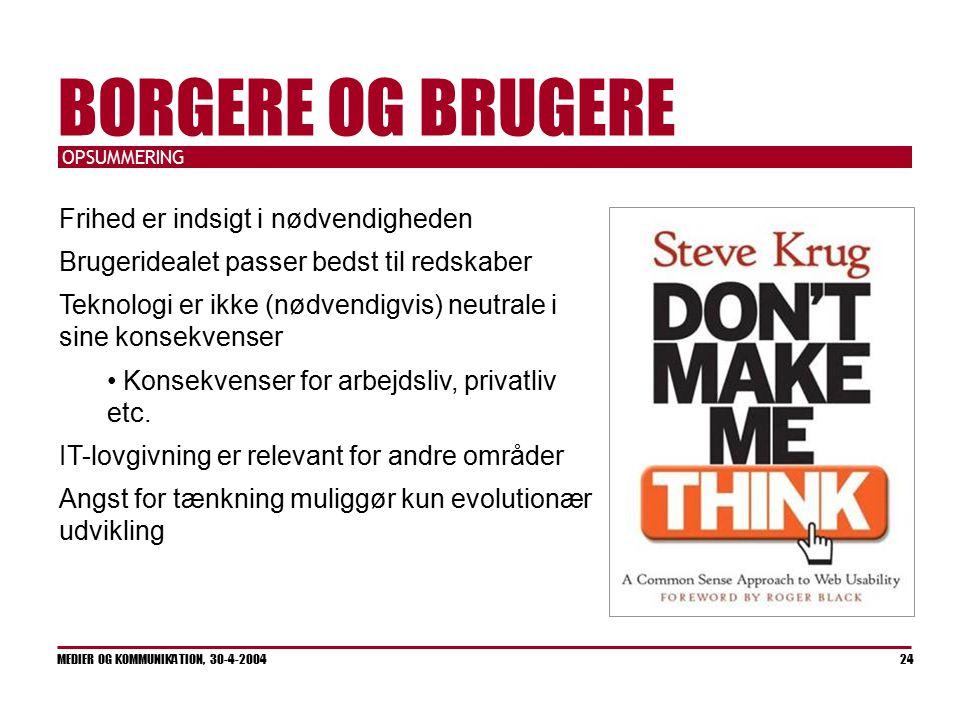 OPSUMMERING MEDIER OG KOMMUNIKATION, 30-4-2004 24 BORGERE OG BRUGERE Frihed er indsigt i nødvendigheden Brugeridealet passer bedst til redskaber Teknologi er ikke (nødvendigvis) neutrale i sine konsekvenser Konsekvenser for arbejdsliv, privatliv etc.