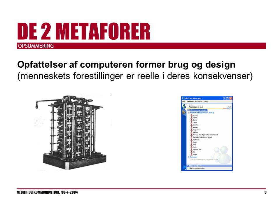 OPSUMMERING MEDIER OG KOMMUNIKATION, 30-4-2004 8 DE 2 METAFORER Opfattelser af computeren former brug og design (menneskets forestillinger er reelle i deres konsekvenser)