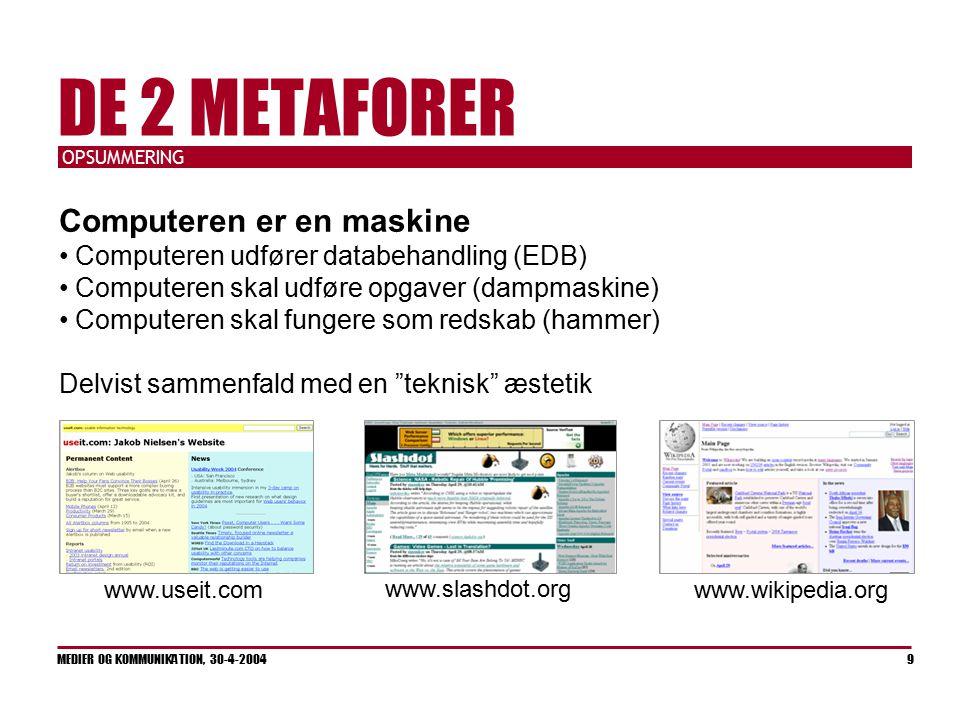 OPSUMMERING MEDIER OG KOMMUNIKATION, 30-4-2004 9 DE 2 METAFORER Computeren er en maskine Computeren udfører databehandling (EDB) Computeren skal udføre opgaver (dampmaskine) Computeren skal fungere som redskab (hammer) Delvist sammenfald med en teknisk æstetik www.useit.com www.slashdot.org www.wikipedia.org