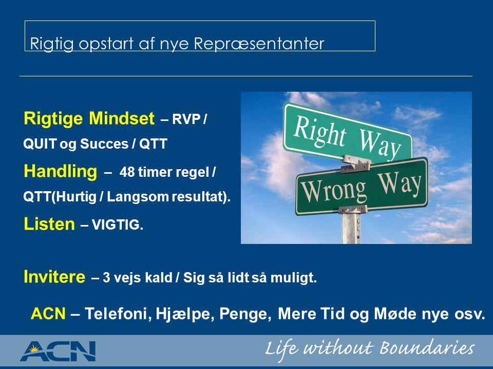Rigtige Mindset – RVP / QUIT og Succes / QTT Handling – 48 timer regel / QTT(Hurtig / Langsom resultat).