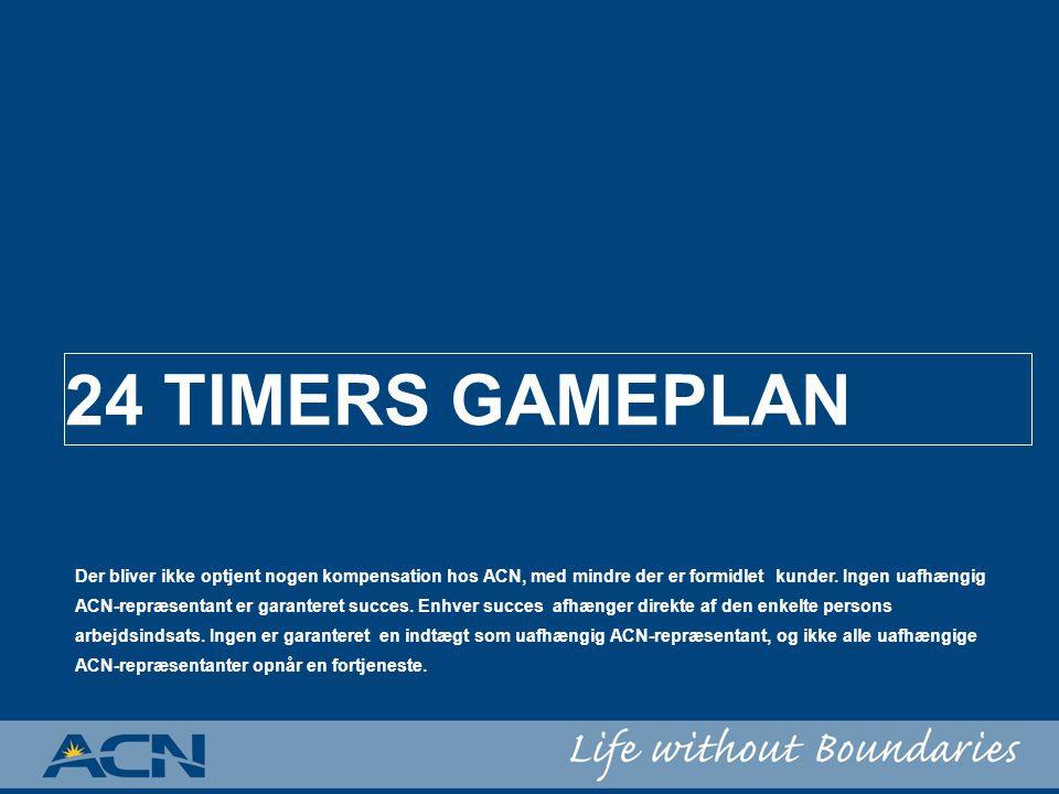 24 TIMERS GAMEPLAN Der bliver ikke optjent nogen kompensation hos ACN, med mindre der er formidlet kunder.