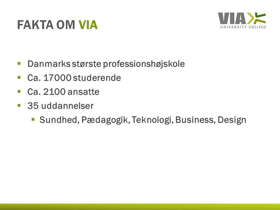 FAKTA OM VIA  Danmarks største professionshøjskole  Ca.