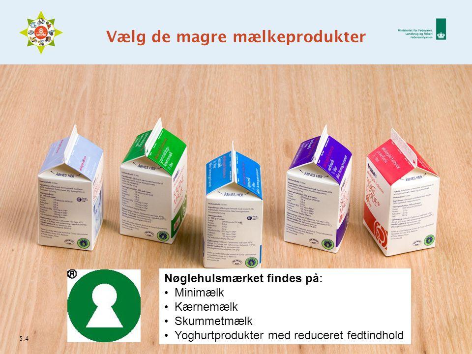 Vælg de magre mælkeprodukter 5.4 Nøglehulsmærket findes på: Minimælk Kærnemælk Skummetmælk Yoghurtprodukter med reduceret fedtindhold