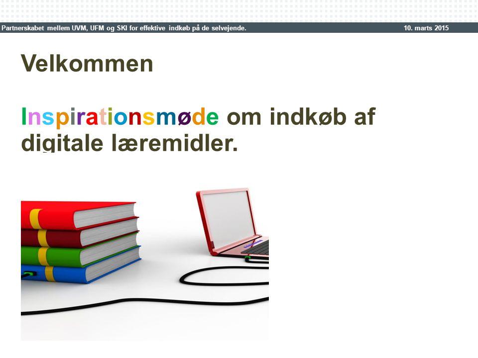 Skift af farvetema: 1.Vælg 'Design' i PowerPoint menubjælken 2.Vælg 'Farver' 3.Vælg 'farveskema' SKI_GRØN eller SKI_BLÅ Indsæt nyt billede i format H 17,3 x B 11,9 cm: 1.Klik på billede-ikonen, vælg dit billede 2.Højreklik på billede og læg bagerst Velkommen Inspirationsmøde om indkøb af digitale læremidler.