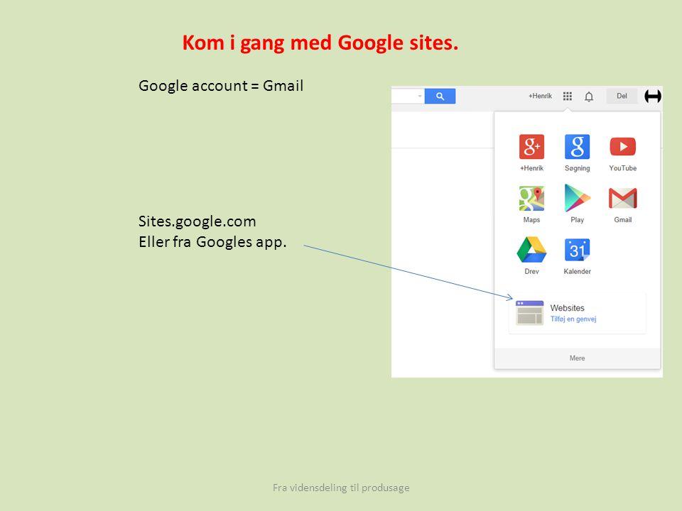 Fra vidensdeling til produsage Kom i gang med Google sites.