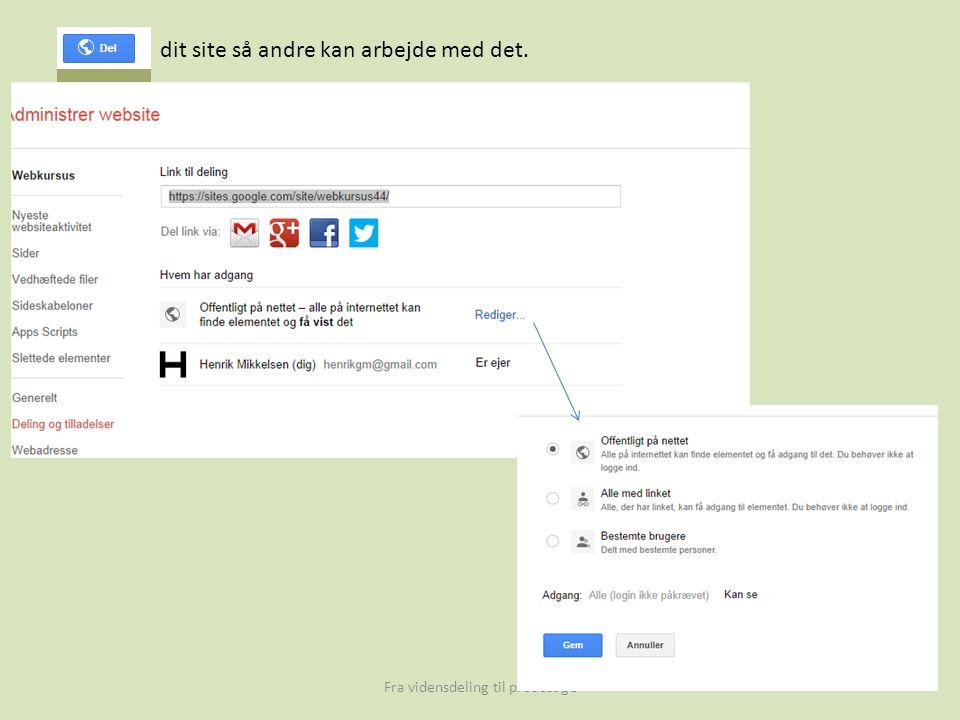 Fra vidensdeling til produsage dit site så andre kan arbejde med det.