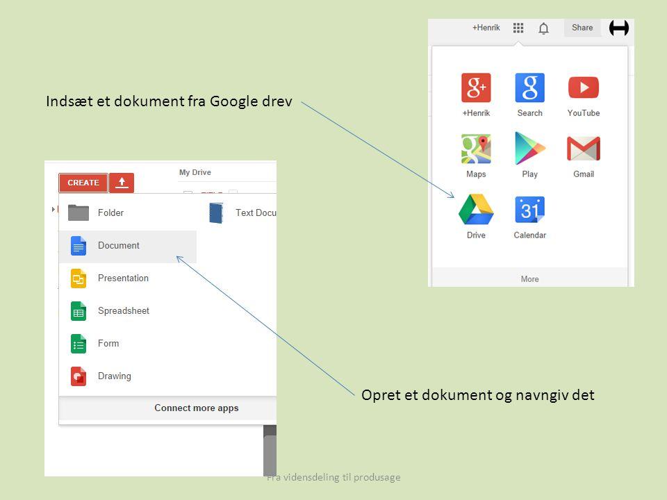 Fra vidensdeling til produsage Indsæt et dokument fra Google drev Opret et dokument og navngiv det