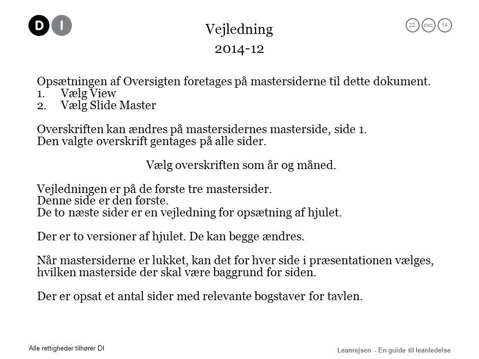 22.dec.14 Leanrejsen - En guide til leanledelse Alle rettigheder tilhører DI 2014-12 Opsætningen af Oversigten foretages på mastersiderne til dette dokument.