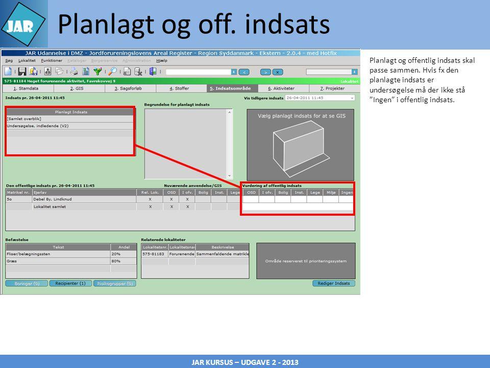 JAR KURSUS – UDGAVE 2 - 2013 Planlagt og off.