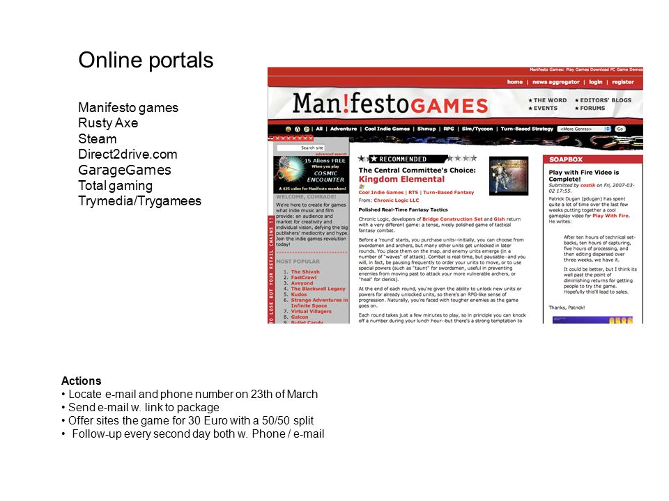 Online portals Manifesto games Rusty Axe Steam Direct2drive.com GarageGames Total gaming Trymedia/Trygamees Actions Locate e-mail and phone number on 23th of March Send e-mail w.