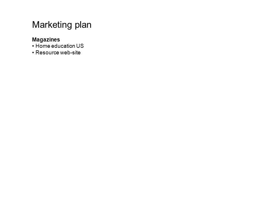Marketing plan Magazines Home education US Resource web-site