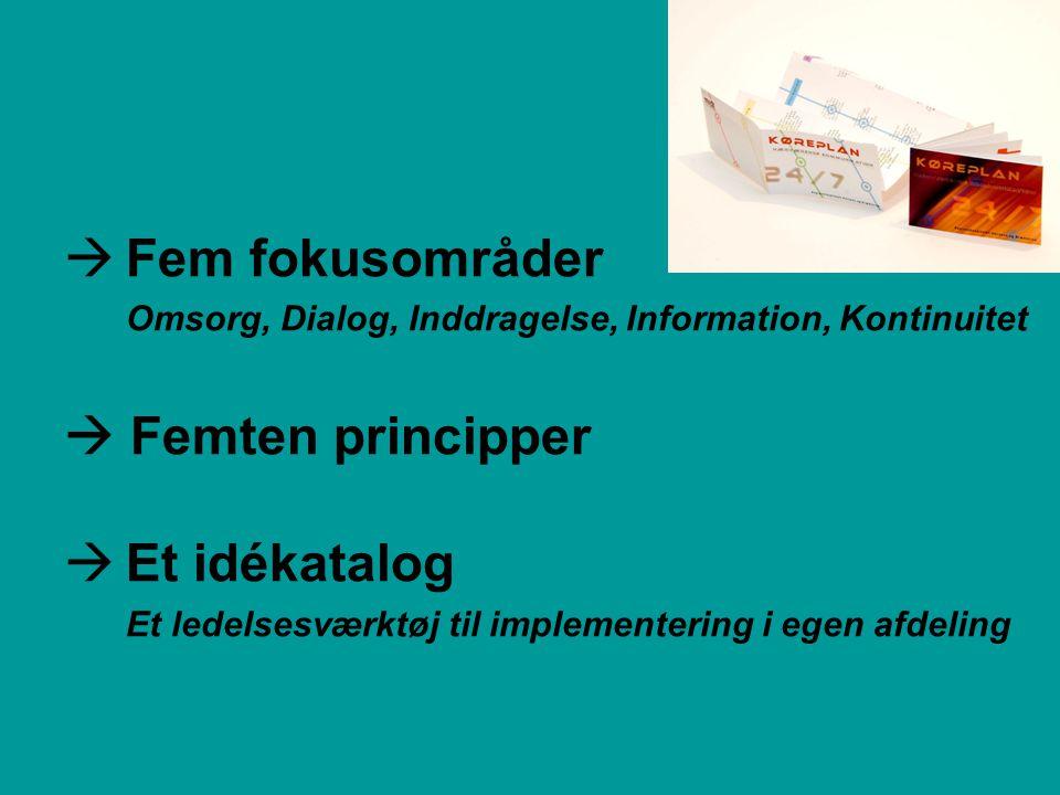  Fem fokusområder Omsorg, Dialog, Inddragelse, Information, Kontinuitet  Femten principper  Et idékatalog Et ledelsesværktøj til implementering i egen afdeling