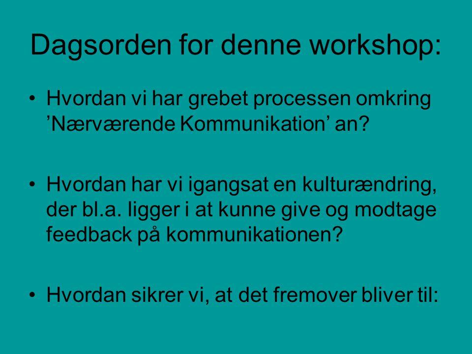 Dagsorden for denne workshop: Hvordan vi har grebet processen omkring 'Nærværende Kommunikation' an.