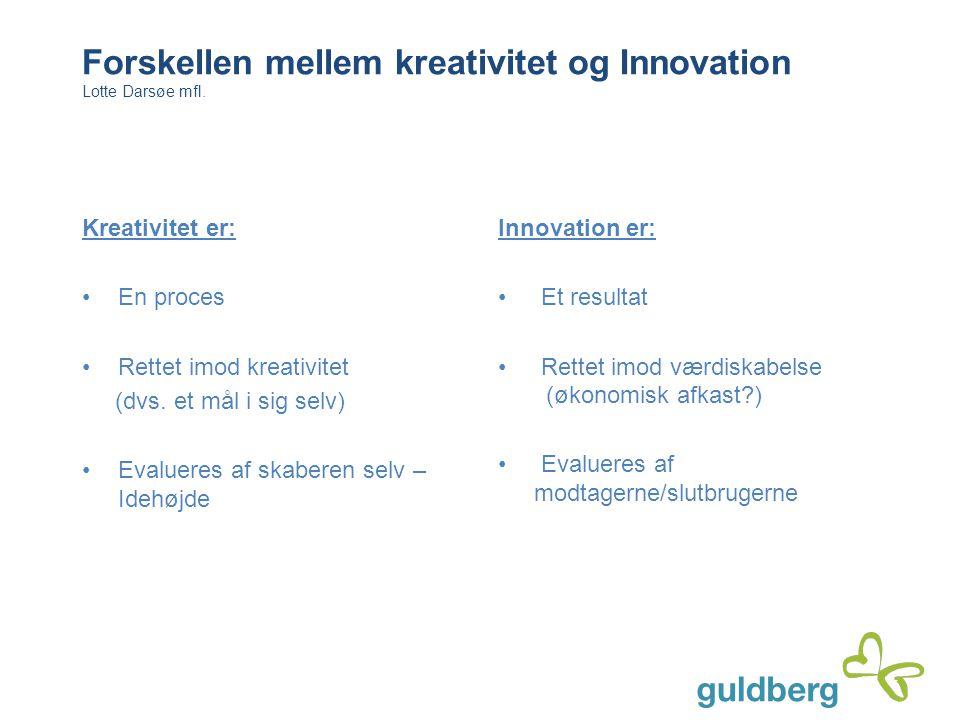 Forskellen mellem kreativitet og Innovation Lotte Darsøe mfl. Kreativitet er: En proces Rettet imod kreativitet (dvs. et mål i sig selv) Evalueres af