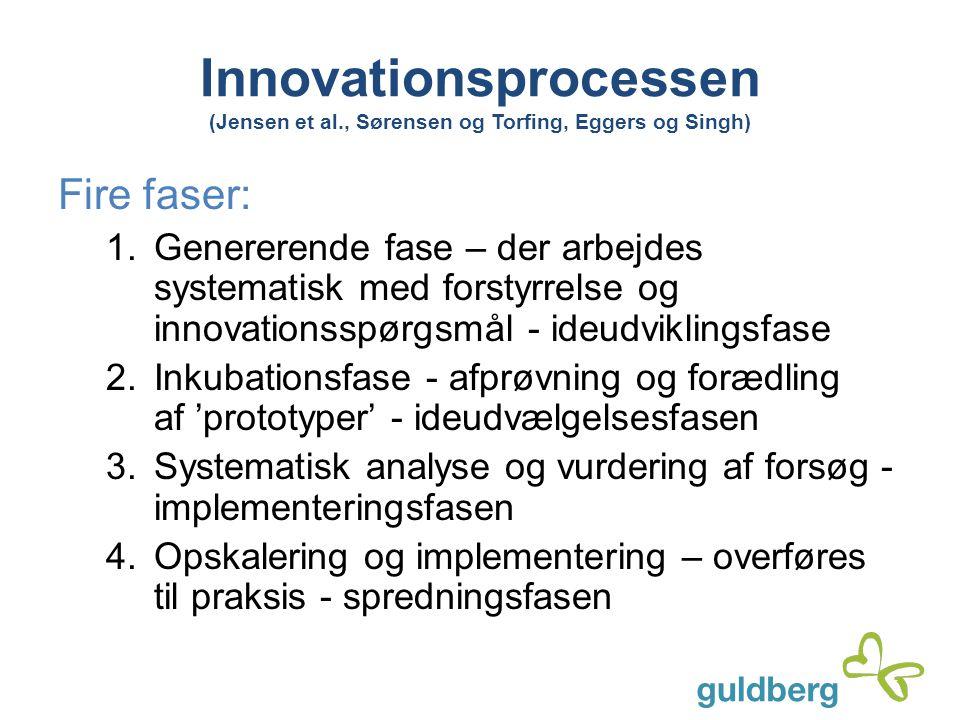 Innovationsprocessen (Jensen et al., Sørensen og Torfing, Eggers og Singh) Fire faser: 1. Genererende fase – der arbejdes systematisk med forstyrrelse