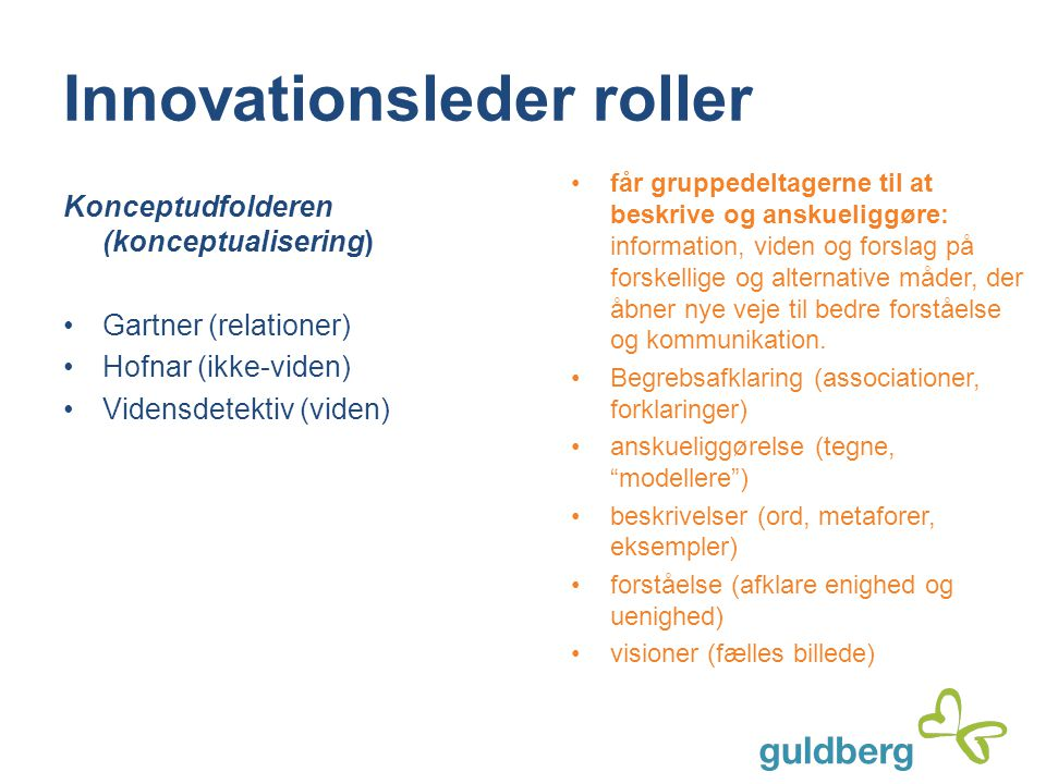 Innovationsleder roller Konceptudfolderen (konceptualisering) Gartner (relationer) Hofnar (ikke-viden) Vidensdetektiv (viden) får gruppedeltagerne til