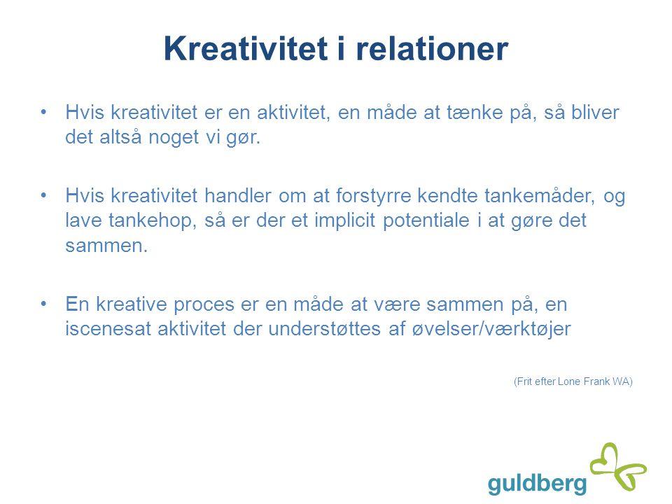 Kreativitet i relationer Hvis kreativitet er en aktivitet, en måde at tænke på, så bliver det altså noget vi gør. Hvis kreativitet handler om at forst
