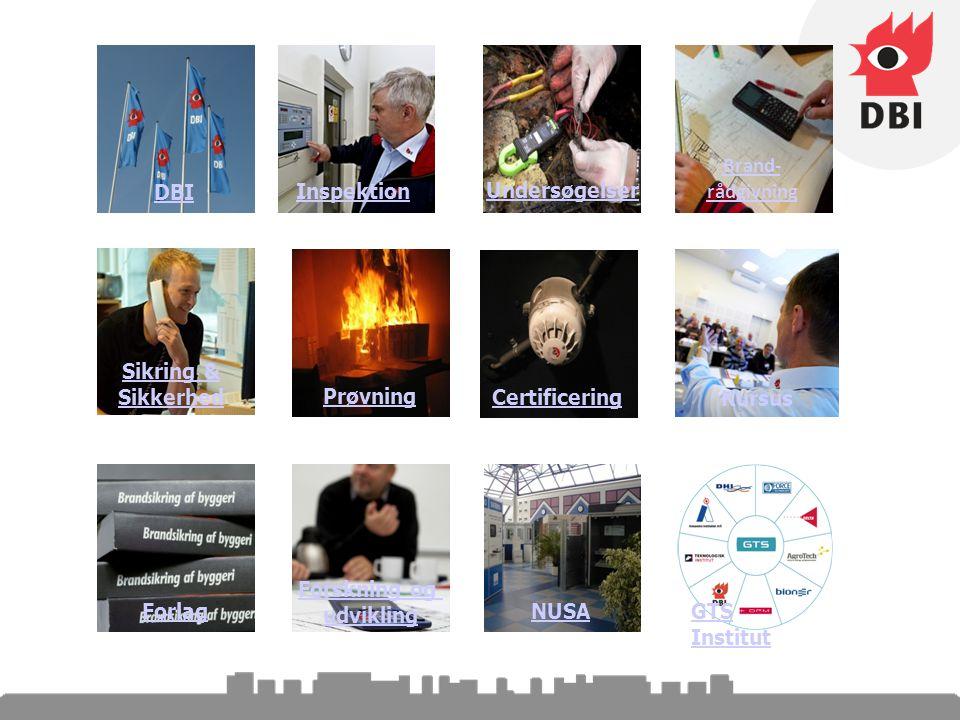 Brand- rådgivning Inspektion Kursus Sikring & Sikkerhed Prøvning Undersøgelser CertificeringDBINUSA GTS Institut Forlag Forskning og udvikling
