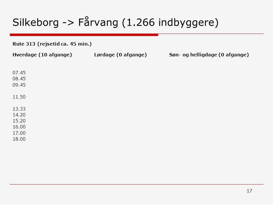 17 Silkeborg -> Fårvang (1.266 indbyggere) Søn- og helligdage (0 afgange)Hverdage (10 afgange) 07.45 08.45 09.45 11.50 13.33 14.20 15.20 16.00 17.00 18.00 Lørdage (0 afgange) Rute 313 (rejsetid ca.