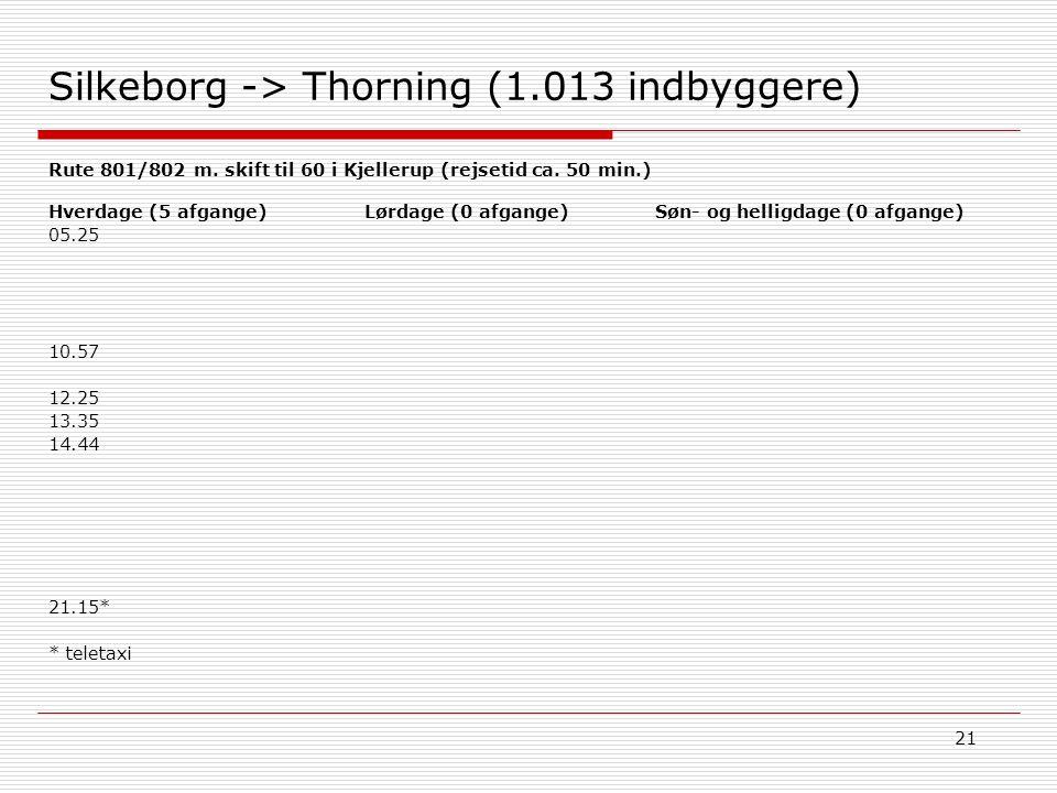 21 Silkeborg -> Thorning (1.013 indbyggere) Søn- og helligdage (0 afgange)Hverdage (5 afgange) 05.25 10.57 12.25 13.35 14.44 21.15* * teletaxi Lørdage (0 afgange) Rute 801/802 m.