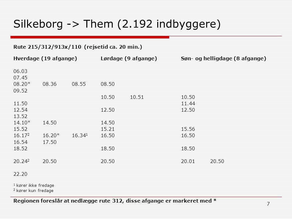 7 Silkeborg -> Them (2.192 indbyggere) Søn- og helligdage (8 afgange) 10.50 11.44 12.50 15.56 16.50 18.50 20.0120.50 Hverdage (19 afgange) 06.03 07.45 08.20*08.3608.55 09.52 11.50 12.54 13.52 14.10*14.50 15.52 16.17 2 16.20*16.34 1 16.5417.50 18.52 20.24 2 20.50 22.20 1 kører ikke fredage 2 kører kun fredage Lørdage (9 afgange) 08.50 10.5010.51 12.50 14.50 15.21 16.50 18.50 20.50 Rute 215/312/913x/110 (rejsetid ca.
