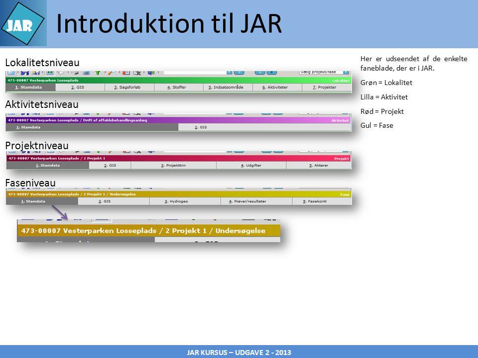 JAR KURSUS – UDGAVE 2 - 2013 Introduktion til JAR Her er udseendet af de enkelte faneblade, der er i JAR.