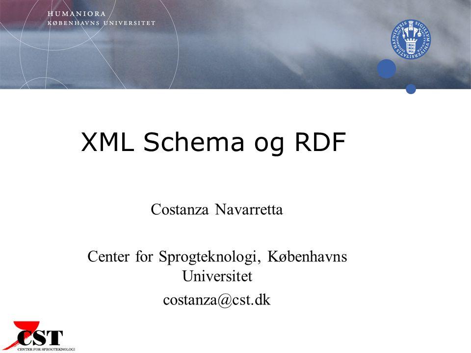 XML Schema og RDF Costanza Navarretta Center for Sprogteknologi, Københavns Universitet costanza@cst.dk