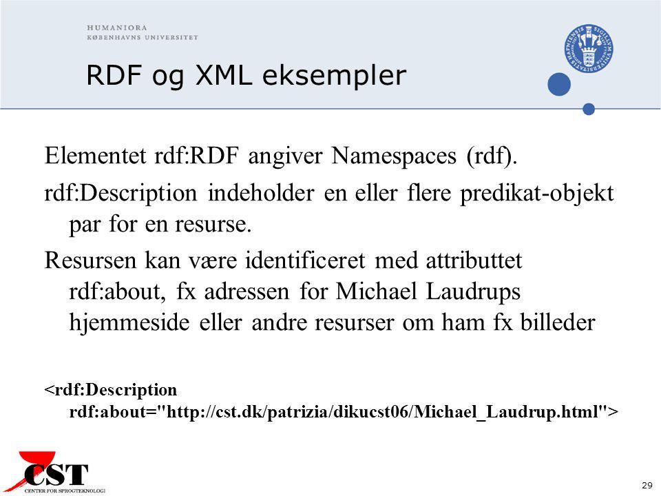 29 RDF og XML eksempler Elementet rdf:RDF angiver Namespaces (rdf).